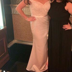 Ashley&Justin Off the Shoulder Dress- Light Pink